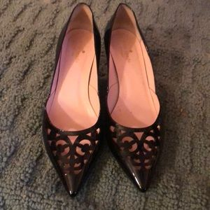 Kate Spade Black Patent Pointy Low Heeled Pump 9.5